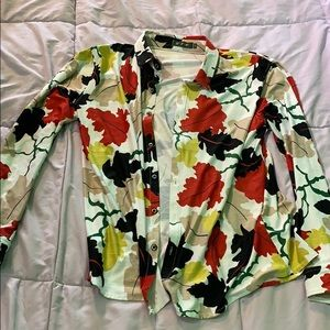 Long Sleeve Leaves Shirt - Fits American Medium